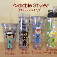 personalized with name acrylic tumbler or water bottle cute nurse rn or dental hyg