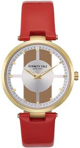 red leather strap watch kc15004018 loading zoom