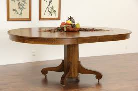 round 54 oak 1900 antique pedestal dining table 2 leaves