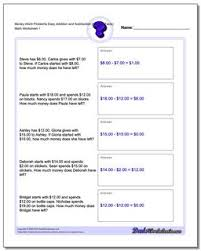Addition Facts To 20 Chart Money Word Problems