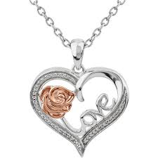 10k rose gold over sterling silver diamond accent heart pendant