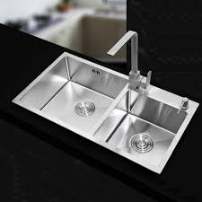 710420220mm Stainless steel undermount kitchen sinks sets Double