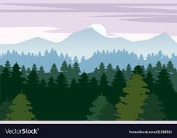 mountains backgrounds. Pine Forest And Mountains Backgrounds Vector Image