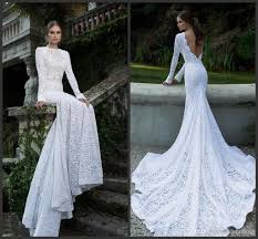 western style long sleeve fishtail wedding gowns with lace
