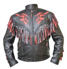 western cowboy black and red fringes leather jacket