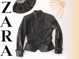 zara genuine black leather biker jacket