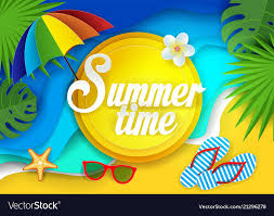 Summertime paper cut Royalty Free Vector Image