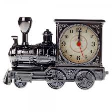 european vintage creative steam train simulation model quartz alarm clock decor gift black