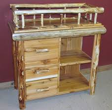 Cedar Log Changing Table with Shelf and Drawers \u2014 Barn Wood Furniture - Rustic Barnwood By Vienna Woodworks