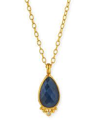 gurhanelements rose cut blue sapphire pendant necklace