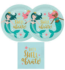 Amazon.com: Mermaid Party Supply Pack For 20 Guests - Plates, Luncheon Napkins: Home \u0026 Kitchen