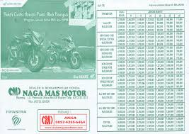 brosur angsuran tabel kredit sepeda motor honda nagamas motor klaten update terbaru bulan ini