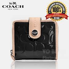 COACH F49828 Signature Stripe Embossed Patent Slim Medium Wallet  Silver  Black