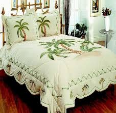 comfortable big classic bedding palm tree quilt queen size with white brown green