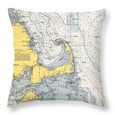 Nautical Chart Pillows Nautical Chart Of Cape Cod 1945v Throw Pillow