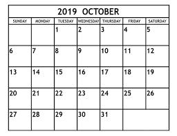 2019 October Calendar October 2019 Calendar Printable 2019 Monthly Calendar