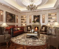 elegant living room design ideas round shape fl pattern classical fur area rugs on brown laminate floor also bell shape table lamp plus red fabric sofa