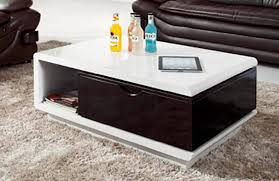 new high gloss coffee table white black with drawers swivel unused clearance
