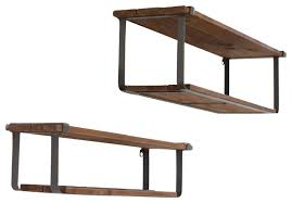Recycled Wood and Metal Shelves, Set of 2 industrial-display-and-wall