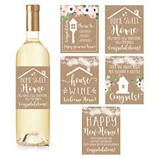 5 Rustic House Warming Presents, New Homeowner Stickers Or Wine Label Gift  Set Ideas,