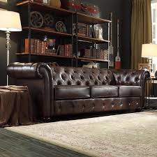 Knightsbridge Brown Bonded Leather Tufted Scroll Arm Chesterfield Sofa by  iNSPIRE Q Artisan by iNSPIRE Q
