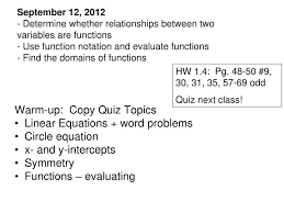 warm up copy quiz topics linear equations word problems circle equation powerpoint ppt presentation