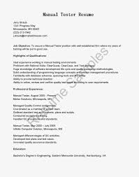 Resume Template Qa Manual Tester Sample Resume Free Resume