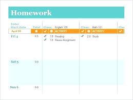 Homework Agenda Printable Student Schedule Template Word Homework Excel Online Planner