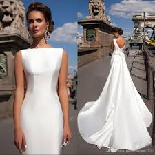 Satin Mermaid Wedding Dresses 2018 Bateau Boat Neck Sleeveless