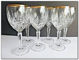 crystal wine glasses gold rim waterford stemless red