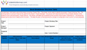 Work In Progress Excel Template Work Breakdown Structure Wbs Excel Template Free