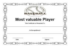 Free Baseball Mvp Certificate Template Certificate