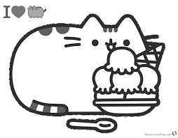 Pusheen Coloring Pages Yummy Iceream Free Printable Coloring Pages