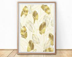 Gold Feathers Print, gold foil art print, gold leafs art print, gold leafs