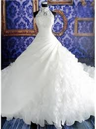 hot first cl good neck pearl chapel train wedding dress