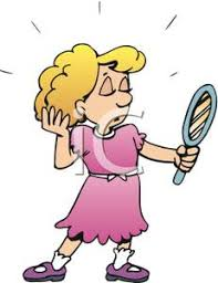 mirror clipart. a little girl looking in mirror clipart picture