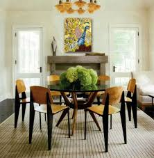 with round modern glass dining table and classic laminated wood dining table also striped rattan carpet dining room table centerpieces ideas that stun