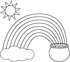Sun Template Printable Coloring Pages Rainbow Pot Of Gold Sun And Clouding Pages