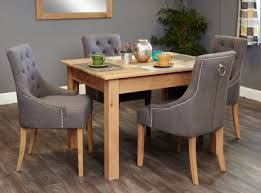 baumhaus mobel oak dining set with 4 stone fabric upholstered chairs baumhaus mobel oak extra