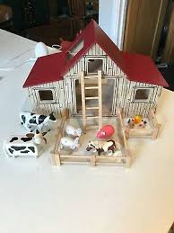 micki wooden toy farm barn silo shed