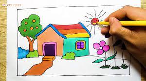 Vẽ ngôi nhà của bé - Cách vẽ ngôi nhà cầu vồng nhiều màu sắc - Dạy vẽ nhà -  YouTube