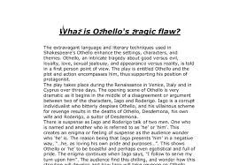 what is othello s tragic flaw gcse english marked by teachers com document image preview
