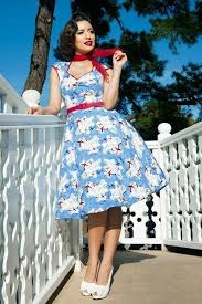 50s Heidi Swing Dress In Mary Blair Planes Print