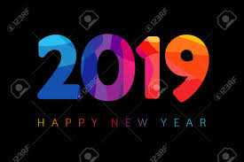 2019 Happy New Year Card Design. Vector Happy New Year Greeting ...