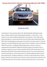Toyota Corolla E11 Owners Workshop Manual 199 by Brigitte Kinstler ...