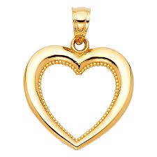 14k gold small mini heart charm pendant 15mm x 16mm yellow oyjhyr789 other fine necklaces pendants