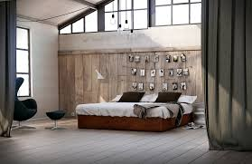 bedroom: Fabulous Big Loft Bedroom Design With Mesmerizing Wooden Wall And  Gorgeous Wooden Bed At