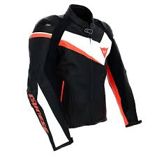 dainese veloster summer leather jacket black white fluo red thumb 3