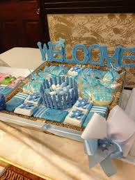 Tray Decoration For Baby Welcome baby boy This is a chocolate tray arrangement with 1