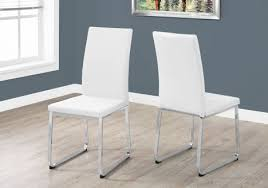 Contemporary white dining chairs Chrome Monarch Specialties Dining Chair 2pcs 38